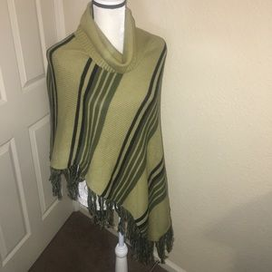 Cousin Johnny Green and black poncho cape sweater